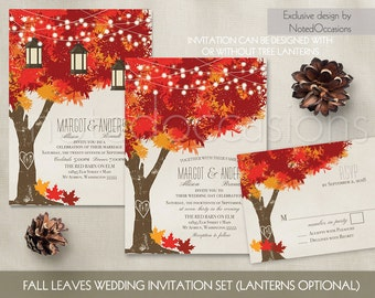 Fall Wedding Invitations | Autumn Oak Tree Wedding with Rustic Tree & Leaves - Fall Wedding Invitations with initials carved in tree