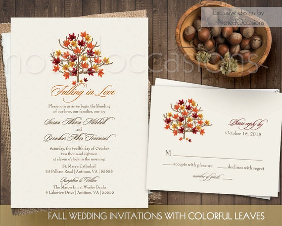 Rustic Fall Wedding Invitations: Fall Wedding Invitation Set Printable Rustic By NotedOccasions