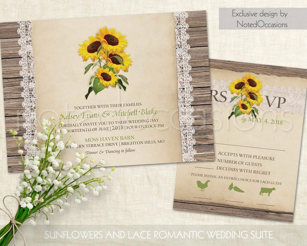 Rustic Wedding Invitation Sets: Rustic Sunflower Wedding Invitations Set Rustic By