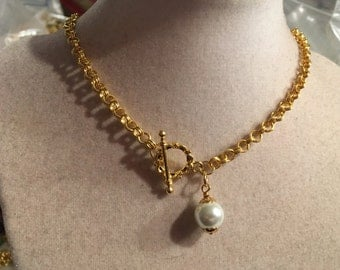 Pearl Necklace - June Birthstone - Gold Jewellery - Chunky Chain - Wedding Jewelry - Bride - Bridesmaid