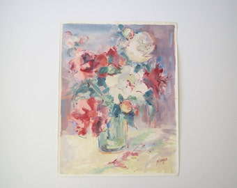 Mid century abstract floral still life/ signed original/ pink/blue/purple