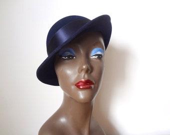 1960s Mr. John Hat - navy blue tilt hat - mod vintage accessory