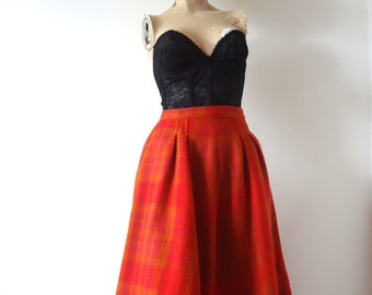 1950s Wool Skirt - vintage plaid pleated a-line