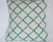 Teal on SOFT Burlap Style, Linen, Oatmeal, Cotton, Richloom Ikat Lattice Print 20x20 Pillow Cover