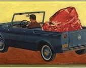 Small Print from my Original Collage, The Carnivore, Pop Surrealism Surreal Collage Mixed Media Steak Meat Men 1950s Atomic Kitchen Art Food
