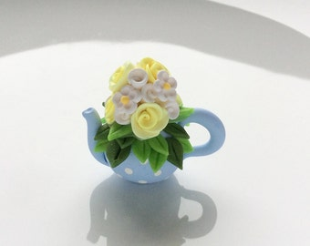Miniature pale blue teapot with yellow and white flowers for 1/12 scale dollhouse handmade from polymer clay
