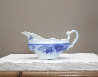 Antique Ironstone Flow Blue Gravy Sauce Boat Richmond by Johnson Bros England 1800s Transferware China Dinnerware Cottage Dining Home Decor