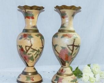 Vintage Pair of Enamelware Brass Enamel Decorated vases Asian Theme