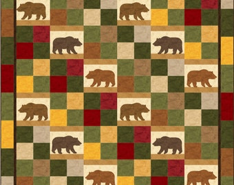 Alpine Trails Bear Queen Quilt ePattern, 4694-1, bear quilt pattern, queen quilt pattern, queen quilt