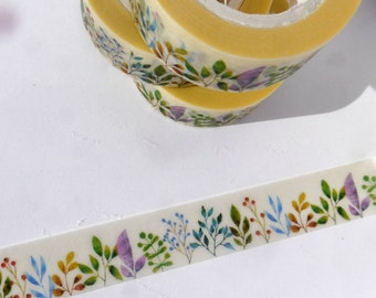 Nature Washi Tape - Colorful Bushes Shrubs Wild Plants - Paper Tape Great for Calendars Scrapbooking Paper Crafts Organizing 15mm x 10m