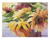 Sunflower Watercolor Limited Edition Giclee Print, 8x10 Collectable Fine Art by carla niehaus