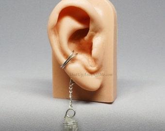 Summer Sale - 10% off - Silver Ear Cuff Quartz Ear Cuff Double Band Ear Cuff Dangle Ear Cuff - RIGHT ear only