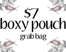BOXY POUCH Grab Bag, Discounted, Deal, Makeup Bag, Pencil OR Gadget Case, Under 10