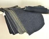 Large Lot of Denim Remnants Set of 10 Craft Supplies Material Upholstery Weight Dark Blue Black Vintage Worn Faded Denim Blue Cotton