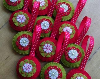 Colorful felt Christmas ornaments - set of 12