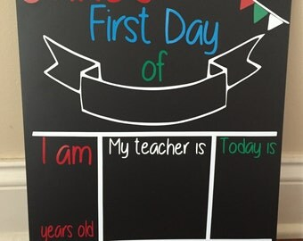 Reusable First Day of School Chalkboard Sign