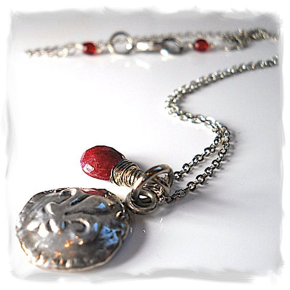 A JULY BIRTHSTONE Gift,  Wax Seal Jewelry Fleur de Lis + RUBY  Wire Wrapped Gemstone  Necklace, Jewellery,