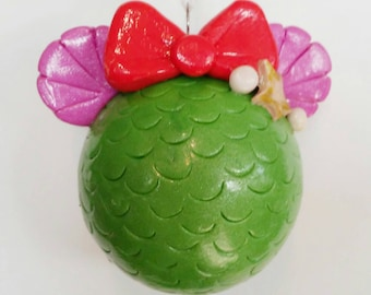 Christmas Ornament Mouse Ears Disney Princess Ariel Little Mermaid Polymer Clay Covered Glass Ornie