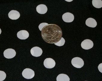 "Vintage Black and White Polka Dot Acrylic Dress Fabric 44"" x 74"""