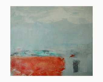 """Modern wall art/Giclee print of abstract painting print/Minimalist abstract landscape wall art/aqua and orange. """"In Flight"""""""