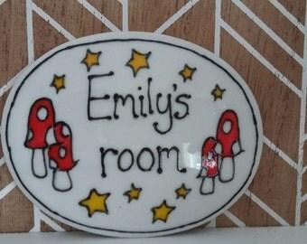 Emily's room name plaque door sign mushrooms fairyland