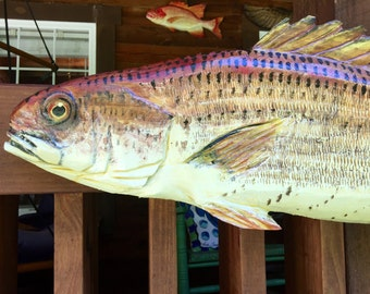 Redfish 4ft. chainsaw wooden fish taxidermy carving saltwater Spottail bass sport  sculpture woodworking original indoor/outdoor wall art