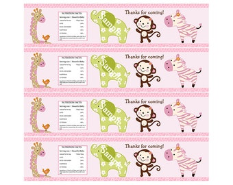 "Printable ""Jungle Jill/Girl Animals"" Water Bottle Labels Instant Digital Download"