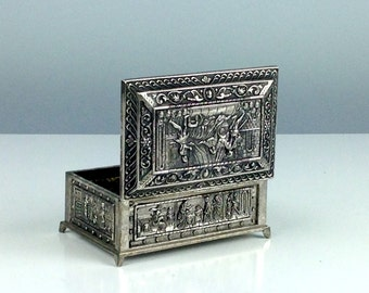 Vintage Small Trinket Box, Small Metal Box with LId, Jewelry Box, Hinged Box, Old English Relief, Made in Japan