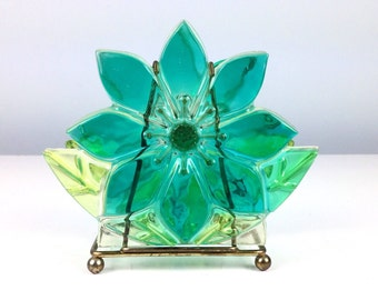Vintage Resin Flower Napkin Holder, Lucite Napkin Holder, Molded Plastic Flower