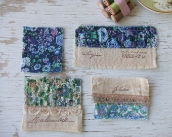 FaBRic EmBElliShMents - Liberty fabric - hand stamped - Paris stamps - shabby chic elegance - Fabric squares - scrap fabric