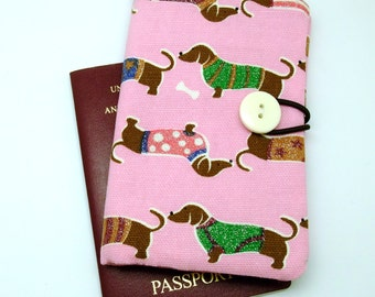 Passport sleeve, passport cover, fabric passport case, pouch - Dressed up dogs (Ps5)