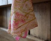 Vintage VERA Neumann Sheer Silk Scarf / Ladybug Vera / Pink Floral Spring Summer Lightweight Feminine Neck Scarf