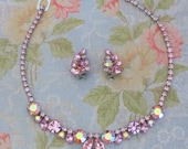 Weiss Pink Rhinestone Necklace And Earrings