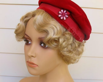 1950s Beret In Red Velvet By Modern Miss