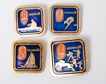 Set of 4 vintage pins  Russia USSR Moscow 1980 Summer Olympic Games Pin Badge.