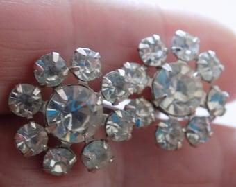 Vintage signed Keyes crystal filled elegant bridal screw back earrings,retro jewelry
