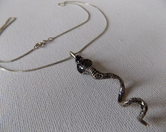 Vintage cobra snake pendant marked Brazil with sterling silver chain, statement jewelry