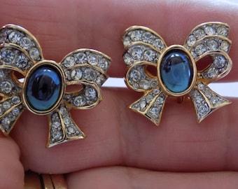 "Vintage signed ""Richelieu"" earrings, crystal and blue glass bow clip-on earrings, 1970s retro earrings, designer earrings"
