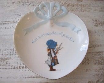 Holly Hobbie Blue Girl porcelain trinket dish catch all kitchy country charm farmhouse decor Japan