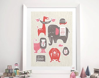 Nursery Art Print, Zoo Animals Art Print, Kid's Nursery Decor, Whimsical Children's Wall Art // ZOO FRIENDS