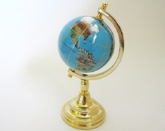 """Globe with Gemstone Inlay in Display Stand 5 1/4"""" Vintage"""