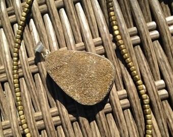 Golden Druzy Pendant Necklace