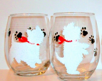 White West Highland Terrier Silhouette Set of 2 - 21 oz. Stemless Wine Glasses Hand Painted Wine Glassware Terrier Gift  Dog Lover Westie