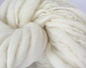 Handspun Chunky Yarn,  Natural Wool Yarn,  Thick and Thin Wool, Photo Prop, Baby Bump Blanket, Yarn Slub Yarn  54 yards Natural