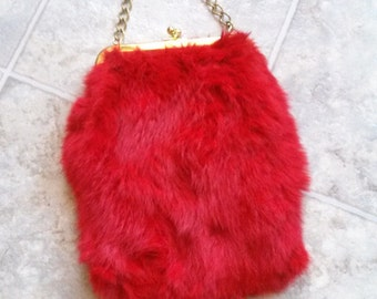 80's red fur purse