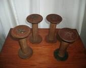 Vintage Wood Textile Spools Set of Four