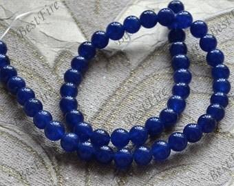 Single blue 8mm jade round stone beads,stone beads, jade stone beads,gemstone beads loose strand