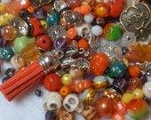 Halloween Bead Mix, Halloween Beads and Charms, Trick or Treat Beads, Halloween Bead and Charms Soup, Bead Soup, Destash Beads, Charms