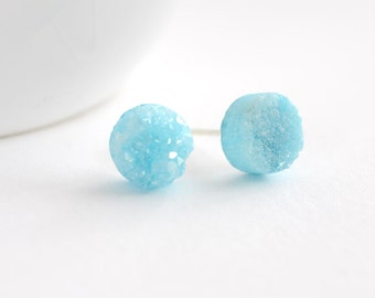 Aqua Blue Druzy Stud Earrings