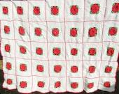 Hand Crocheted Blanket/ Vintage Hand Crocheted Bedspread/ Afghan